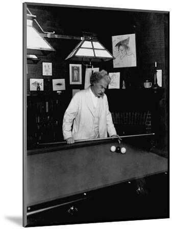 Mark Twain Playing Game of Pool--Mounted Photographic Print