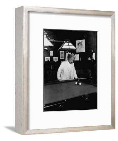 Mark Twain Playing Game of Pool--Framed Photographic Print