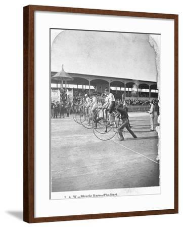 Starting Line of a Penny-Farthing Bicycle Race-George Barker-Framed Photographic Print