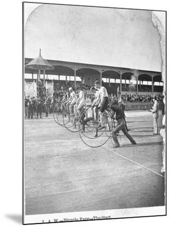 Starting Line of a Penny-Farthing Bicycle Race-George Barker-Mounted Photographic Print