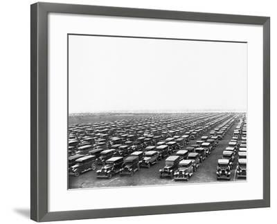Car-Filled Soldier Field Parking Lot--Framed Photographic Print