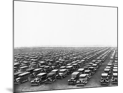 Car-Filled Soldier Field Parking Lot--Mounted Photographic Print