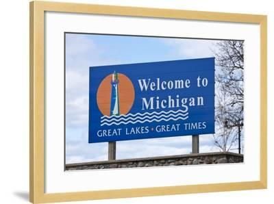 Welcome to Michigan Sign-Paul Souders-Framed Photographic Print