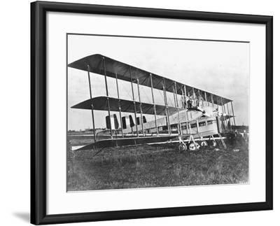 Passengers Standing on Middle Wing of Triplane--Framed Photographic Print