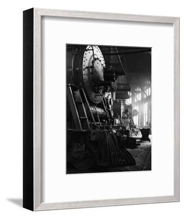 Locomotives in Roundhouse-Jack Delano-Framed Photographic Print