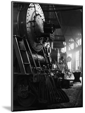 Locomotives in Roundhouse-Jack Delano-Mounted Photographic Print