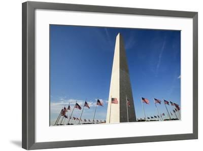 American Flags Encircling Washington Monument-Paul Souders-Framed Photographic Print