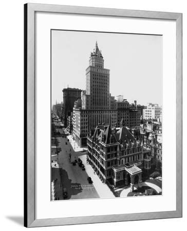 Aerial View of the Crown Building and Vanderbilt Mansion, New York-Irving Underhill-Framed Photographic Print