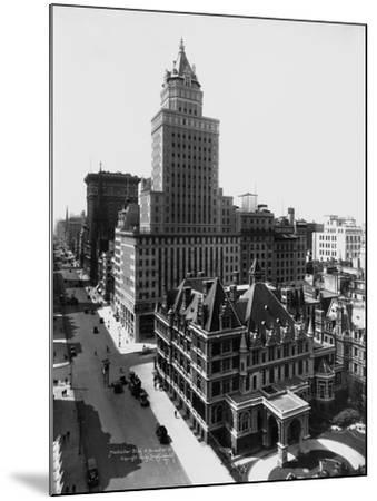 Aerial View of the Crown Building and Vanderbilt Mansion, New York-Irving Underhill-Mounted Photographic Print