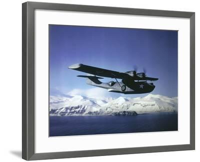 Us Navy Pby Catalina Bomber in Flight--Framed Photographic Print