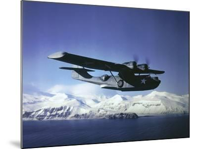 Us Navy Pby Catalina Bomber in Flight--Mounted Photographic Print