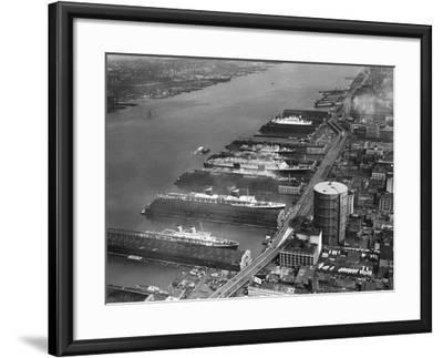 View of West Side Piers at New York City Harbor--Framed Photographic Print
