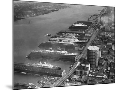 View of West Side Piers at New York City Harbor--Mounted Photographic Print