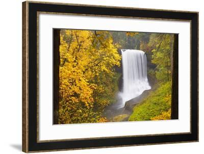 Fall Colors Add Beauty to North Middle Falls, Silver Falls State Park, Oregon, Pacific Northwest-Craig Tuttle-Framed Photographic Print