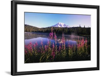 Mount Rainier Reflecting in Lake-Craig Tuttle-Framed Photographic Print
