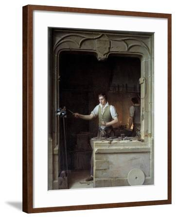 A Locksmith Seeking to Make a Jay Bite His Metal File by Jean Antoine Laurent--Framed Photographic Print