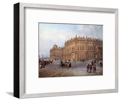 View of the Winter Palace in Saint Petersburg in 1843 by Vasily Sodovnikof--Framed Photographic Print