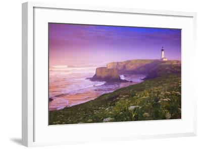 Sunrise Thru Fog, Yaquina Head Lighthouse, Oregon Coast. Pacific Northwest, United States-Craig Tuttle-Framed Photographic Print