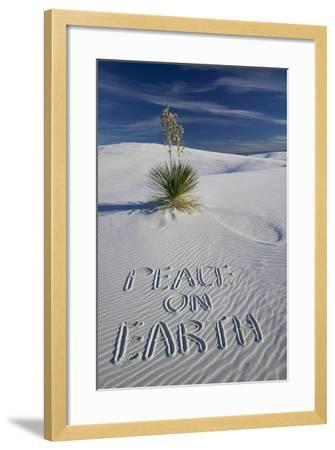 Peace on Earth Written in Sand-Darrell Gulin-Framed Photographic Print