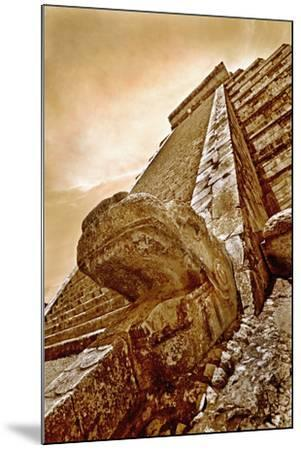 Serpent Head and Long Stairway on Pyramid of Kukulcan-Thom Lang-Mounted Photographic Print