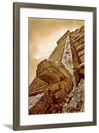 Serpent Head and Long Stairway on Pyramid of Kukulcan-Thom Lang-Framed Photographic Print