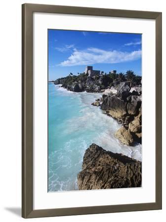 Mexico, Yucatan Peninsula, Carribean Sea at Tulum, the Only Mayan Ruin by Sea-Chris Cheadle-Framed Photographic Print