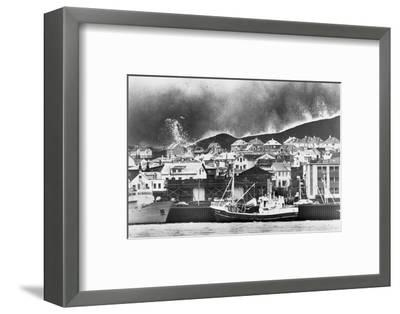 Lava Flowing into Icelandic Town--Framed Photographic Print