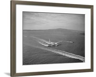 Howard Hughes' Spruce Goose Taxiing across Water--Framed Photographic Print