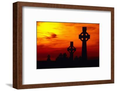 Celtic Crosses Silhouetted at Sunset-Carl Purcell-Framed Photographic Print