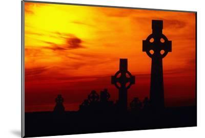 Celtic Crosses Silhouetted at Sunset-Carl Purcell-Mounted Photographic Print