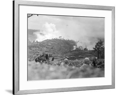 Infantrymen Lying on Ground at Lookout-Sam Goldstein-Framed Photographic Print