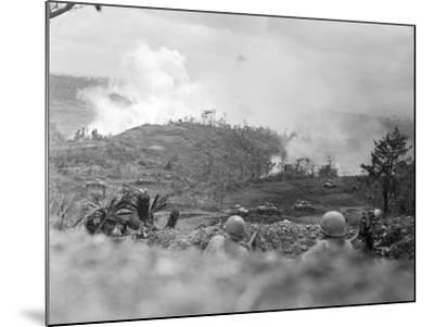 Infantrymen Lying on Ground at Lookout-Sam Goldstein-Mounted Photographic Print