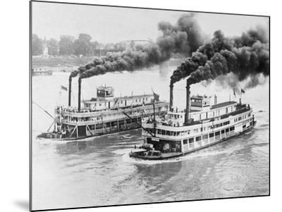 Aerial View of Steamboats Racing--Mounted Photographic Print