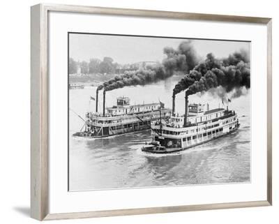 Aerial View of Steamboats Racing--Framed Photographic Print