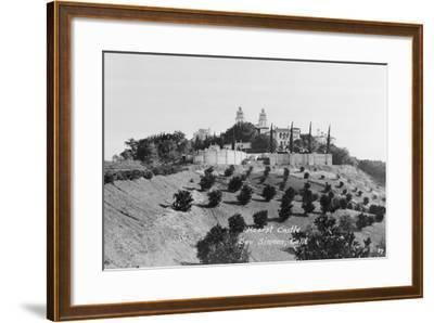 Exterior View of William R. Hearst's Castle with Landscape--Framed Photographic Print