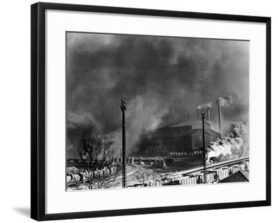 View of Steel Plant with Smoke Fumes--Framed Photographic Print