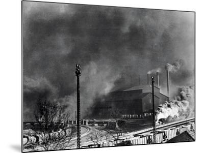 View of Steel Plant with Smoke Fumes--Mounted Photographic Print