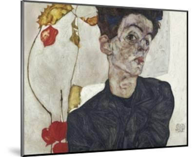 Self-Portrait with Chinese Lantern Plant-Egon Schiele-Mounted Giclee Print