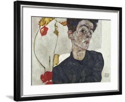 Self-Portrait with Chinese Lantern Plant-Egon Schiele-Framed Giclee Print