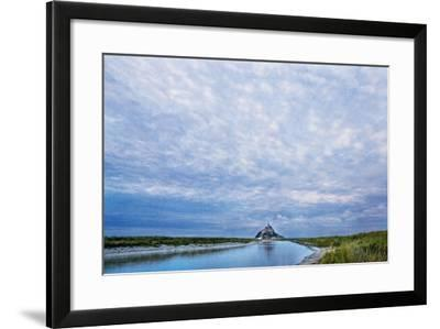 View near Fortified Town during Low Tide, Mont Saint Michel, Lower Normandy, France-Massimo Borchi-Framed Photographic Print