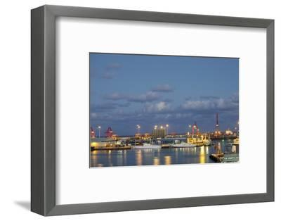Harbor at Night, Las Palmas, Gran Canaria, Spain-Guido Cozzi-Framed Photographic Print