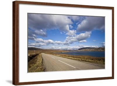 Landscape with Road, Lake and Clouds,Scotland, United Kingdom-Stefano Amantini-Framed Photographic Print