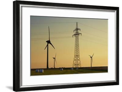 Wind Energy Plant and Power Pole-Frank Krahmer-Framed Photographic Print