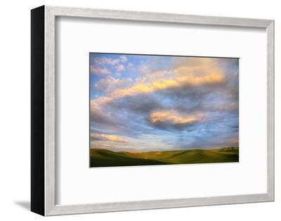Rolling Hills of Green Spring Wheat and Evening Bright Clouds-Terry Eggers-Framed Photographic Print