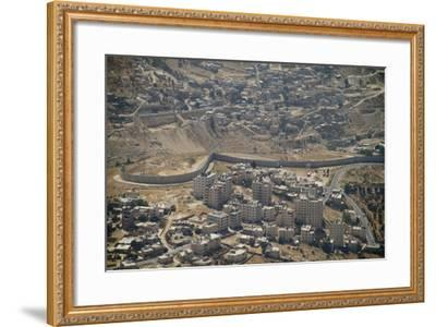 Aeriel View of the Wall Dividing Israel from the West Bank to Prevent Terror Attacks-Hal Beral-Framed Photographic Print