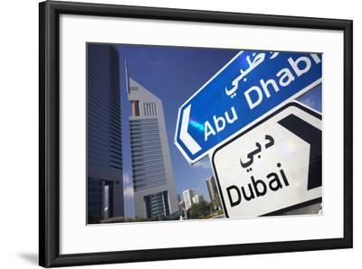 Direction Signs on Sheikh Zayed Road in Dubai-Jon Hicks-Framed Photographic Print
