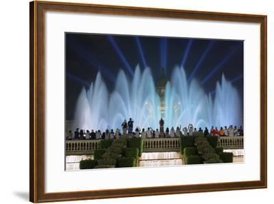 The Magic Fountain Light Show in Front of the National Palace, Barcelona.-Jon Hicks-Framed Photographic Print