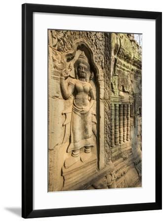 Stone Carvings of Apsara at Angkor Wat, Cambodia-Paul Souders-Framed Photographic Print