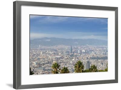 Barcelona Skyline from Montjuic.-Jon Hicks-Framed Photographic Print