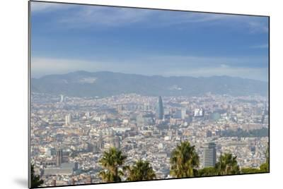 Barcelona Skyline from Montjuic.-Jon Hicks-Mounted Photographic Print
